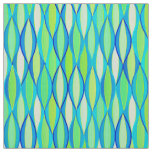 Mid-Century Ribbon Print - turquoise and lime Fabric