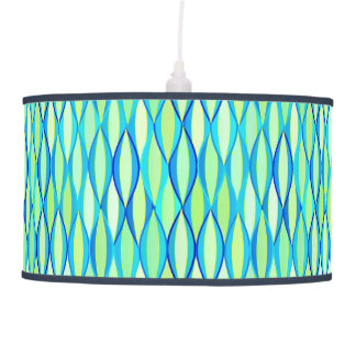 Mid-Century Ribbon Print - turquoise and lime Pendant Lamp