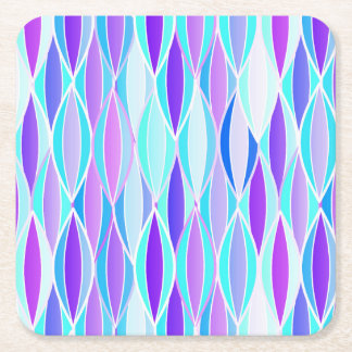 Mid-Century Ribbon Print - violet and aqua Square Paper Coaster