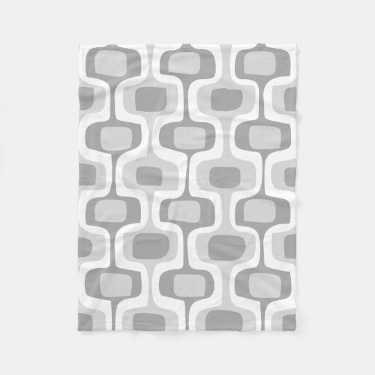 Mid-Century Rounded Rectangle Grey and White Fleece Blanket