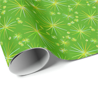 Mid Century Sputnik pattern, Olive Green Wrapping Paper