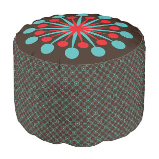 Mid Century Starburst Red and Turquoise Pouf