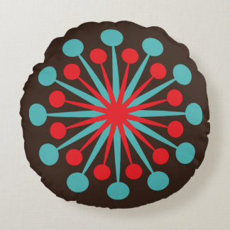 Mid Century Starburst Red and Turquoise Round Pillow