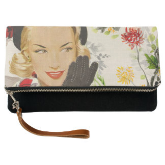 Mid-Century Style Fashionable Woman Casual Clutch