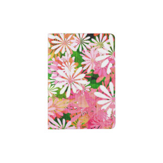 Mid-Century Style Pink Flower Passport Holder