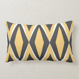 Mid-Century Yellow & Grey Diamond Geo Lumbar Pillow