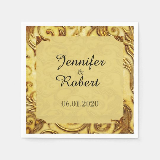 Midas Touch Gold Wedding Napkin