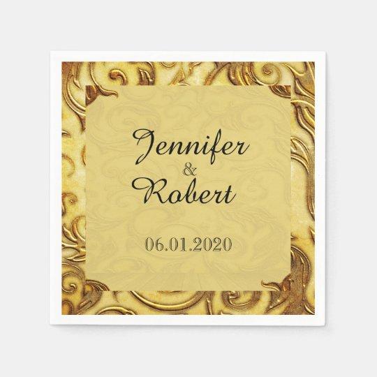 Midas Touch Gold Wedding Napkin Paper Napkin