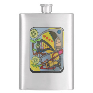 'MidCentury Mod Abstract Garden Bee' painting on a Hip Flask