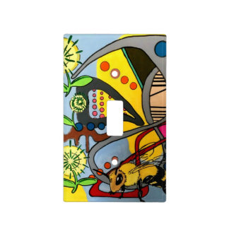 'MidCentury Mod Abstract Garden Bee' painting on a Light Switch Cover
