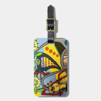 'MidCentury Mod Abstract Garden Bee' painting on a Luggage Tag