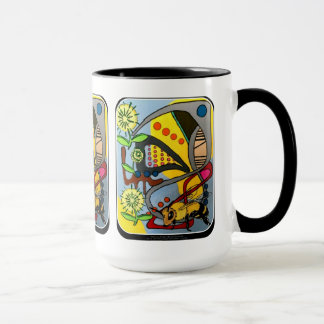 MidCentury Mod Abstract Garden Bee' painting on a Mug