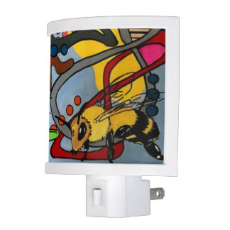 'MidCentury Mod Abstract Garden Bee' painting on a Night Light