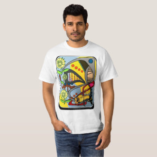 'MidCentury Mod Abstract Garden Bee' painting on a T-Shirt