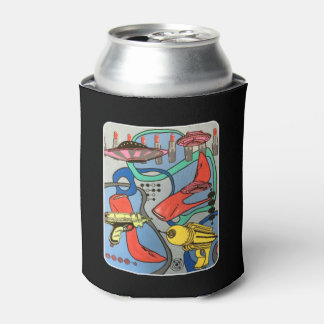 'MidCentury Mod Glamour Invasion' painting on a Can Cooler