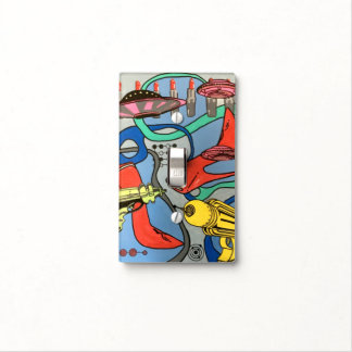 'MidCentury Mod Glamour Invasion' painting on a Light Switch Cover