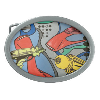 'MidCentury Mod Glamour Invasion' painting on a Oval Belt Buckle