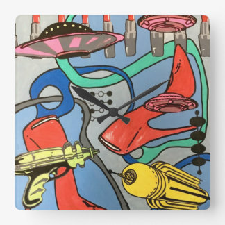 'MidCentury Mod Glamour Invasion' painting on a Square Wall Clock