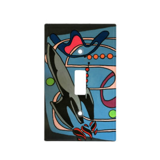 'MidCentury Mod Space is the Place' painting on a Light Switch Cover