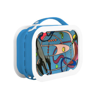 'MidCentury Mod Space is the Place' painting on a Lunch Box