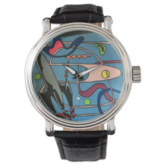 'MidCentury Mod Space is the Place' painting on a Wrist Watch