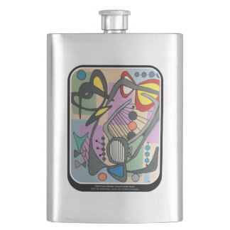 'MidCentury Mod Spider Song' painting on a Hip Flask