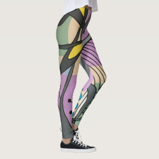 'MidCentury Mod Spider Song' painting on a Leggings