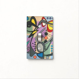 'MidCentury Mod Spider Song' painting on a Light Switch Cover