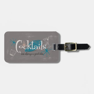 MidCentury Modern Cocktails Luggage Tag