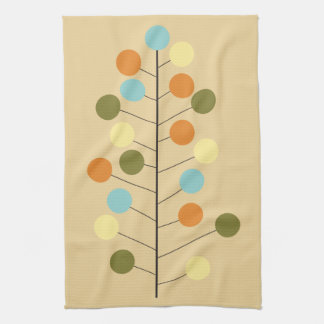 Midcentury modern geometric tree shape kitchen towel