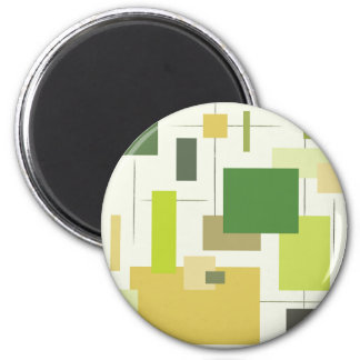 Midcentury Modern Green Squares 2 Inch Round Magnet