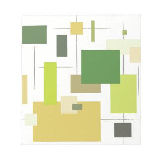 Midcentury Modern Green Squares Notepad