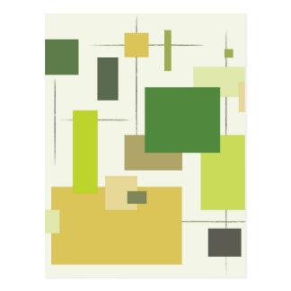 Midcentury Modern Green Squares Postcard