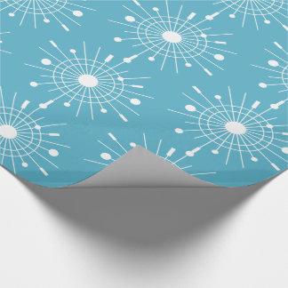 Midcentury Modern Retro Atomic Snowflake Christmas Wrapping Paper