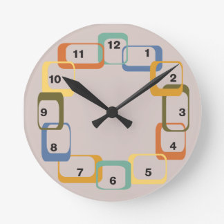 Midcentury Modern Retro Shapes Clock