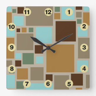 Midcentury Modern Squares Pattern Retro Square Wall Clock