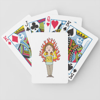 Middle aged woman hot flash bicycle playing cards