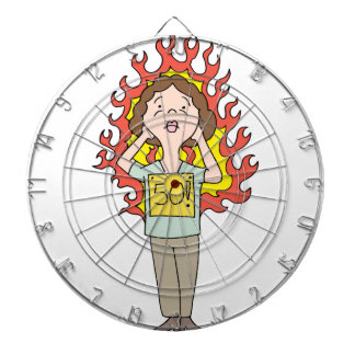 Middle aged woman hot flash dartboard with darts