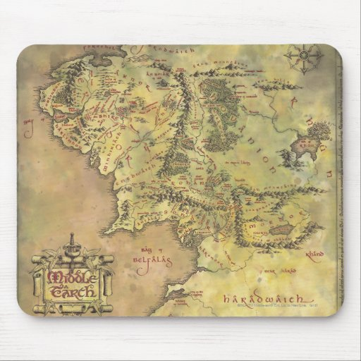 Middle Earth Map Mousepad