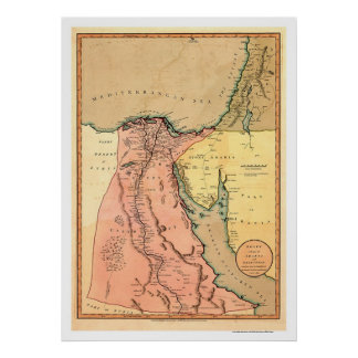 Middle East Egypt Map - 1800 Poster