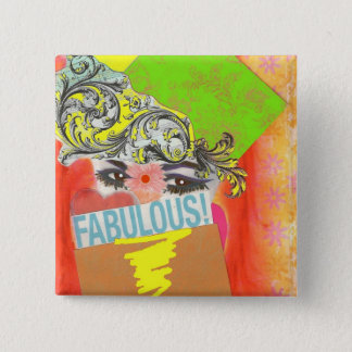 Middle Eastern Diva 2 Inch Square Button