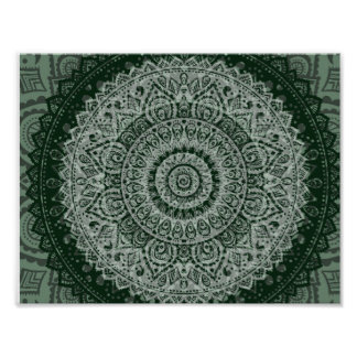 Middle eastern green hippy pattern poster