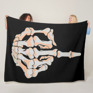 Middle Finger Skull Satin Background Fleece Blanket