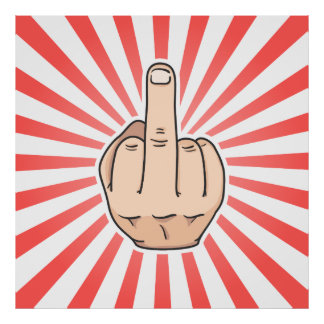 Middle finger with red stripes design poster