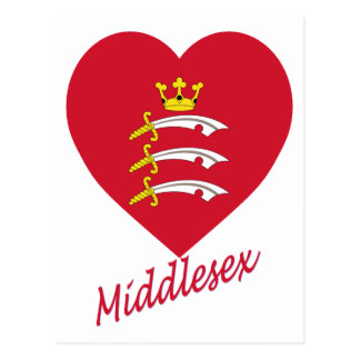 Middlesex Flag Heart with Name Postcard