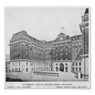Middlesex Hospital Architects drawing Poster