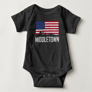 Middletown Connecticut Skyline American Flag Distr Baby Bodysuit