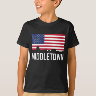 Middletown Connecticut Skyline American Flag T-Shirt