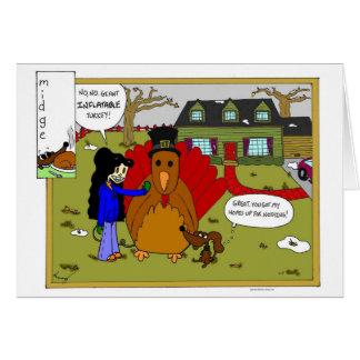 Midge Inflatable Turkey Thanksgiving Comic Card