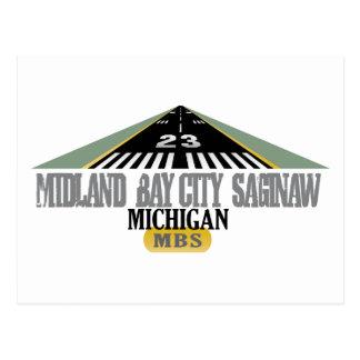 Midland Bay City Saginaw MI - Airport Postcard
